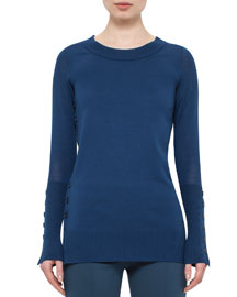 Long-Sleeve Knit Tunic Sweater w/Button-Down Side, Tarn