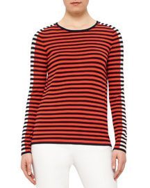 Long-Sleeve Mixed-Stripe Top, Navy/Rust/Chalk