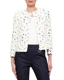 Boulder-Print Bracelet-Sleeve Jacket, Cream