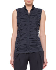 Sleeveless Ruched Zip-Front Blouse, Navy