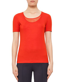Short-Sleeve Mesh-Knit Top, Rust