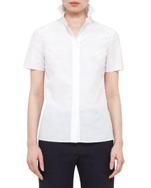 Short-Sleeve Cotton Blouse w/Eyelet Back, White