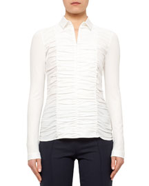Ruched-Front Fitted Blouse