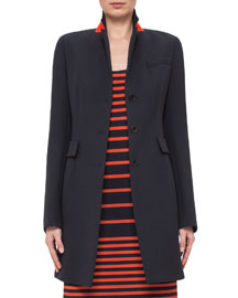 Fitted Three-Button Colorblock Wool Coat, Navy