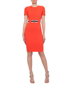 Short-Sleeve Belted Sheath Dress, Rust