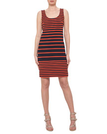 Sleeveless Striped Scoop-Neck Dress, Navy/Rust