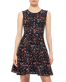 Boulder-Print Fit & Flare Dress, Multi