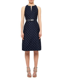 Sleeveless Denim Polka-Dot Belted Dress