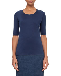 Scoop-Neck Half-Sleeve Top, Blue Jay
