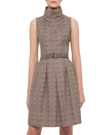 Sleeveless Tortoise-Print Belted Shirtdress, Elephant