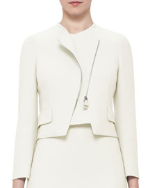 Faramond Cropped Asymmetric Zip Jacket, Pelican