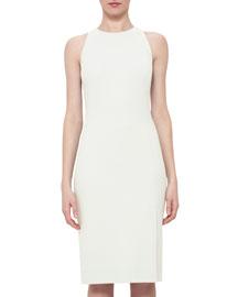 Sleeveless Wool Crepe Sheath Dress, Pelican