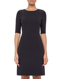 Half-Sleeve Round-Neck Sheath Dress, Starling