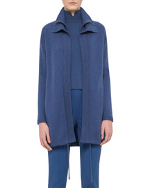 Double-Collar Cashmere Zip-Front Cardigan Coat, Blue Jay
