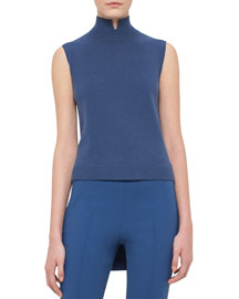 Notched Mock-Neck High-Low Cashmere Sweater, Medium Blue