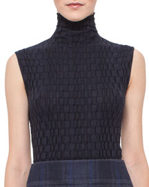 Crinkled Sleeveless Turtleneck Top, Starling