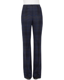 Farrah Plaid Wool Pants, Blue Jay