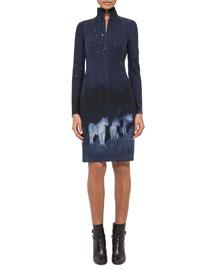 Night Lion-Print Zip-Front Wool Sheath Dress, Starling