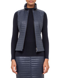 Echo Quilted Napa Leather Vest, Blue Jay