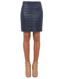 Quilted Napa Leather Skirt, Blue Jay
