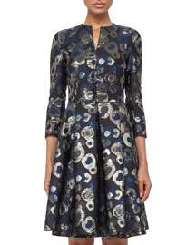 3/4-Sleeve Split-Neck Metallic Coat Dress, Blue Jay