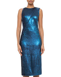 Fully Sequined Cocktail Dress w/Asymmetric Zip, Blue Jay