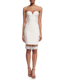 Strapless Sweetheart Illusion-Hem Cocktail Dress, White