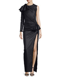 Cutout One-Sleeve Ruched Gown, Black
