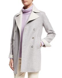Melton Double-Breasted Cashmere Sailor Coat, Sirio/Tapioca