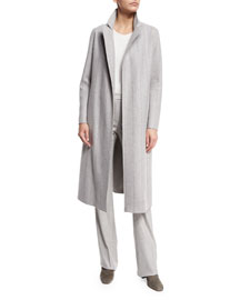 Wilburn Melton Skinny-Striped Long Cashmere Coat, Sirio Melange