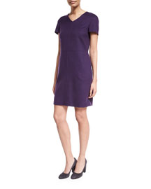 Janet Short-Sleeve Cashmere Dress