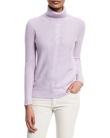 Long-Sleeve Turtleneck Cashmere Sweater, Lilac
