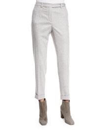 Jari Speckled Flannel Cuffed Pants, Sirio Melange