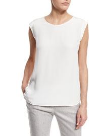 Mae Cap-Sleeve Scoop-Neck Blouse, White