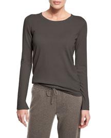 Piuma Crewneck Cashmere Sweater, Silver Melange