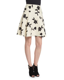 Floral-Print Wool Party Skirt, Black/White