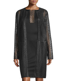 Collarless Laser-Cut Leather Coat, Black