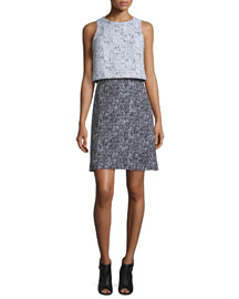 Sleeveless Tweed Popover Dress, Black/White