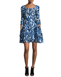 3/4-Sleeve Petal-Print Mikado Dress, Cobalt/White