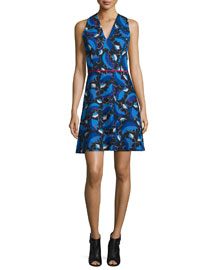 Sleeveless Leaf-Print Day Dress, Multi