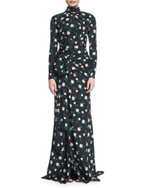Long-Sleeve Floral-Print Mock-Neck Gown, Green/Black/White