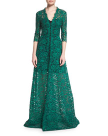 3/4-Sleeve Floral-Lace Gown, Black/Green