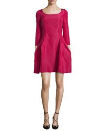 3/4-Sleeve Faille Party Dress, Raspberry