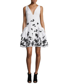 Feather-Embellished Faille Cocktail Dress, Black/White