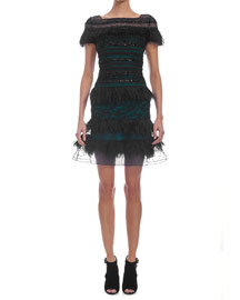 Striped Feather Lace Cocktail Dress, Black