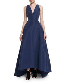 Sleeveless High-Low Faille Ball Gown, Navy