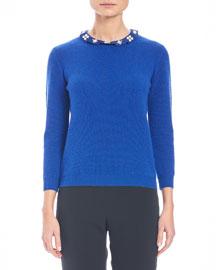 Knit Cashmere Sweater w/Embellished Collar, Cobalt