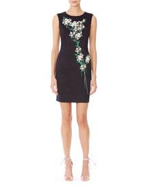 Sleeveless Jasmine-Print Sheath Dress, Black/Green