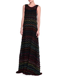 Sleeveless Zigzag Knit Gown, Black
