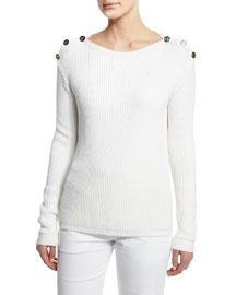 Long-Sleeve Ribbed Button-Shoulder Sweater, White